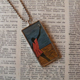 Jacob Lawrence, modern art paintings, upcycled to hand soldered glass pendant