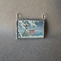 Japanese Woodblock Print, temple in snow, lake scene, upcycled to soldered glass necklace