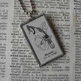 Blue jay, vintage 1930s dictionary illustration, soldered glass pendant