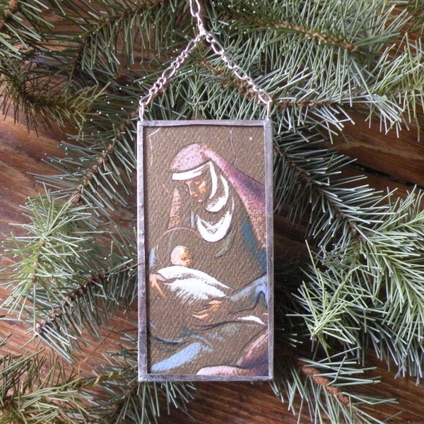 Virgin Mary, Baby Jesus, vintage 1960s Christmas cards, upcycled to hand-soldered glass Christmas tree ornament