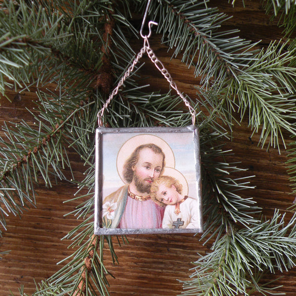 Joseph and baby Jesus, Mary visited by angel, vintage French Christmas postcards, upcycled to hand-soldered glass Christmas tree ornament