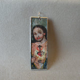 Jesus with Sacred Heart, Saint vintage folk art paintings, upcycled to soldered glass pendant