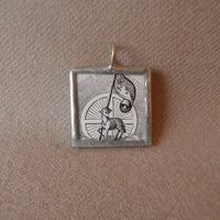 Lamb of God, JHS, vintage religious iconography, upcycled to soldered glass pendant