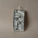 Pinocchio, Jiminy Cricket, original illustrations from vintage book, up-cycled to soldered glass pendant