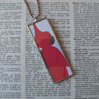 The Snowy Day, vintage children's book illustration, upcycled to soldered glass pendant