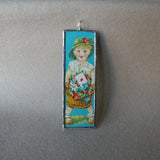 1Boy & Girl, vintage early 20th century die cut ephemera, up-cycled to soldered glass pendant