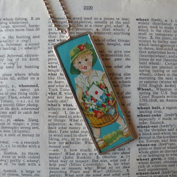 Boy & Girl, vintage early 20th century die cut ephemera, up-cycled to soldered glass pendant