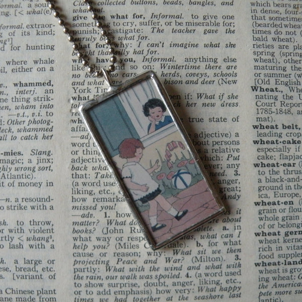 Children playing, vintage children's book illustrations up-cycled to soldered glass pendant