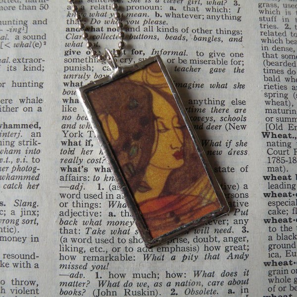 Klimt, art nouveau woman and flower paintings, upcycled to hand-soldered glass pendant