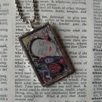 Gustav Klimt, beautiful woman, geometric design, 2-sided soldered glass pendant