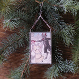 Krampus, vintage European postcard images, upcycled to hand-soldered glass Christmas tree ornament