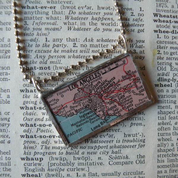 Los Angeles, vintage atlas map up-cycled to hand soldered glass pendant