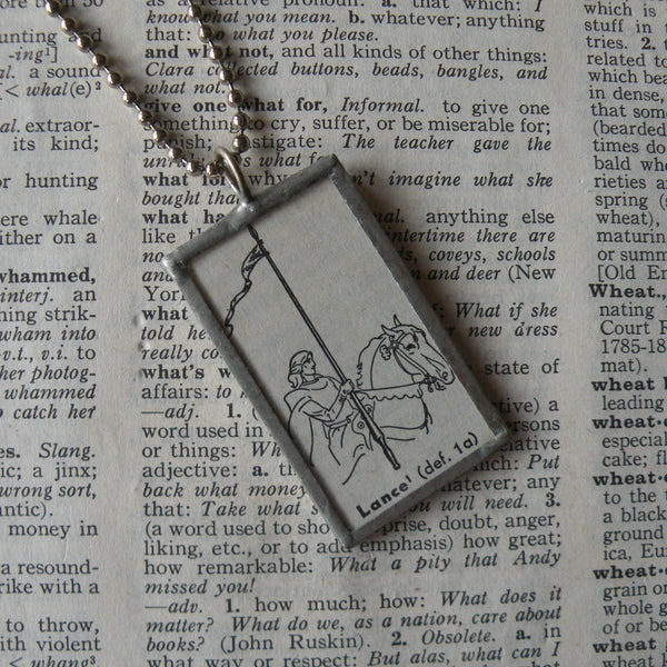 Medieval lance, horseback, vintage dictionary illustration up-cycled to soldered glass pendant