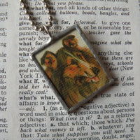 Charming Collie dog vintage illustration up-cycled to hand soldered glass pendant