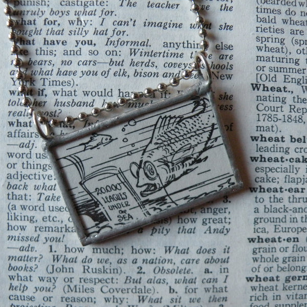 Funny fish, bear at the zoo, vintage children's book illustrations, up-cycled to hand-soldered glass pendant