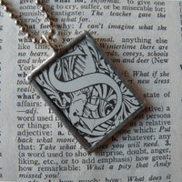 Letter S initial / monogram, soldered glass pendant necklace with Art Nouveau design