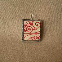 Letter B initial monogram, art nouveau design, upcycled to soldered glass pendant