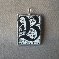 Letter B initial monogram, art nouveau design up-cycled to soldered glass pendant