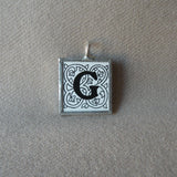 Letter G initial monogram, art nouveau design up-cycled to soldered glass pendant