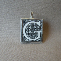 Letter G initial monogram, art nouveau design, upcycled to soldered glass pendant