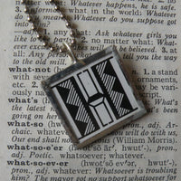 Letter H initial monogram, art nouveau design, upcycled to soldered glass pendant