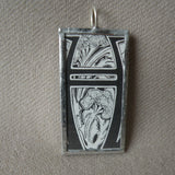 Letter H initial monogram, art nouveau design up-cycled to soldered glass pendant