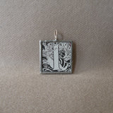 Letter I initial monogram, art nouveau design, upcycled to soldered glass pendant
