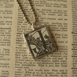 Letter J initial monogram, art nouveau design, upcycled to soldered glass pendant