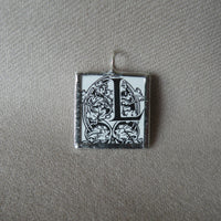 Letter L initial monogram, art nouveau design, upcycled to soldered glass pendant