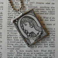 Letter O initial / monogram, soldered glass pendant necklace with Art Nouveau design