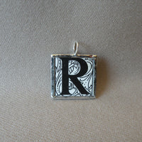 Letter R initial monogram, art nouveau design, upcycled to soldered glass pendant