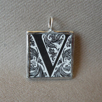 Letter V initial monogram, art nouveau design, upcycled to soldered glass pendant
