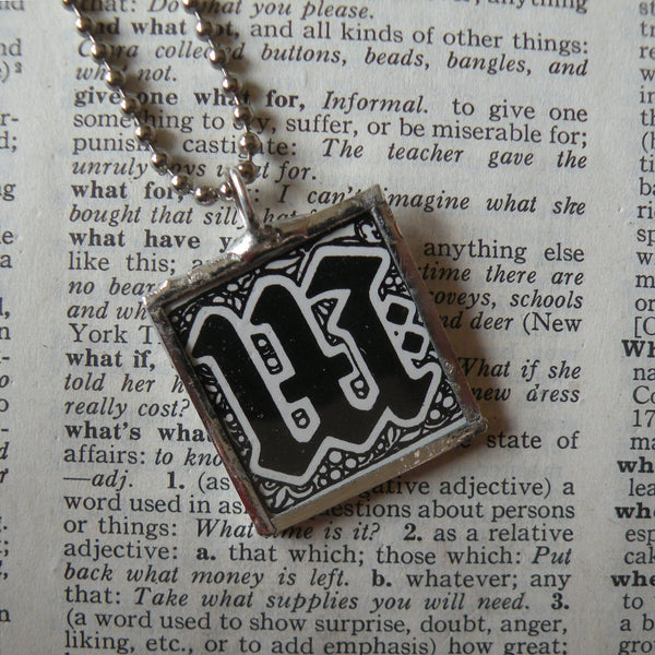 Letter W initial monogram, art nouveau design up-cycled to soldered glass pendant