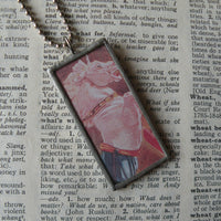 Lion and Unicorn, Alice in Wonderland, vintage children's book illustration upcycled to soldered glass pendant