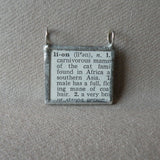 Lion, vintage 1940s dictionary illustration, up-cycled to hand-soldered glass pendant