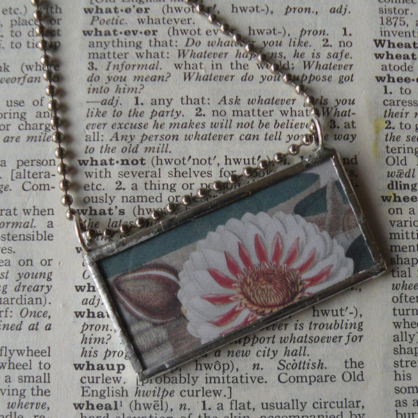 Lotus flower, water lily in bloom, antique botanical illustration, up-cycled to soldered glass pendant