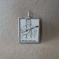 Medieval Lute, vintage 1930s dictionary illustration, upcycled to soldered glass pendant