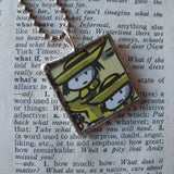 Madeline and Miss Clavel, original illustrations from 1970s vintage book, up-cycled to soldered glass pendant