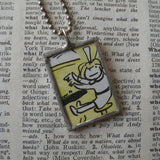 Madeline and Genevieve, original illustrations from 1970s vintage book, up-cycled to soldered glass pendant