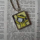 Madeline and Ms. Clavel, original illustrations from 1970s vintage book, up-cycled to soldered glass pendant