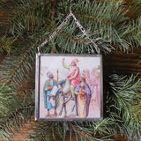 Three kings, Magi, Nativity Scene, vintage French Christmas postcards, upcycled to hand-soldered glass Christmas tree ornament