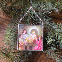 Virgin Mary, Baby Jesus, nativity scene, vintage European Christmas postcards, upcycled to hand-soldered glass Christmas tree ornament
