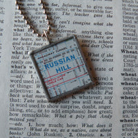 Russian Hill, Polk Gulch, San Francisco, California, vintage map, hand-soldered glass pendant