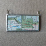 Marina District, San Franicsco, California vintage map, upcycled to soldered glass pendant