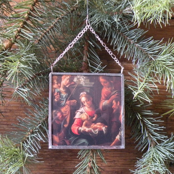 Virgin Mary, Baby Jesus, nativity scene, vintage Christmas cards upcycled to hand-soldered glass Christmas tree ornament