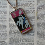 Henri Matisse, Jazz, paper collage, upcycled to soldered glass pendant