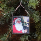 Santa Claus, vintage Christmas cards, upcycled to hand-soldered glass Christmas tree ornament