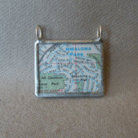 Miraloma Park, San Franicsco, California vintage map, upcycled to soldered glass pendant