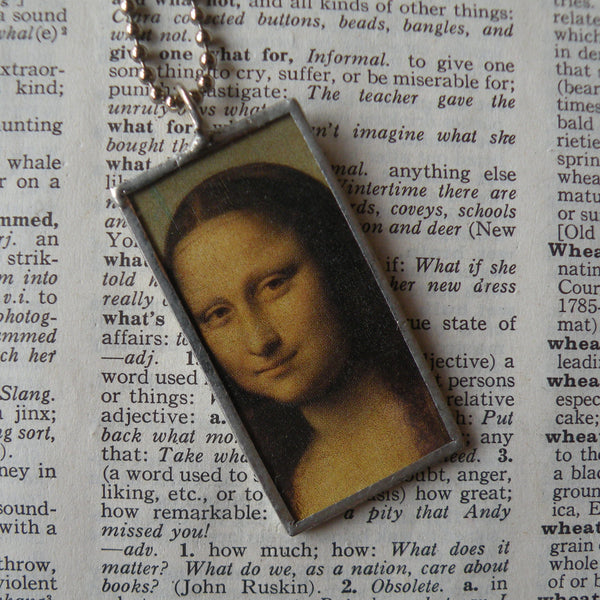 1Mona Lisa, floral paintings, upcycled to hand soldered glass pendant