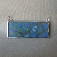 Claude Monet, The Magpie, snowy scene, Waterlilies, impressionist art, 2-sided hand soldered glass pendant